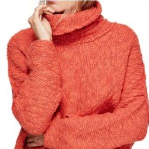Free People Sweater Coral Cowl Neck Cropped Loose
